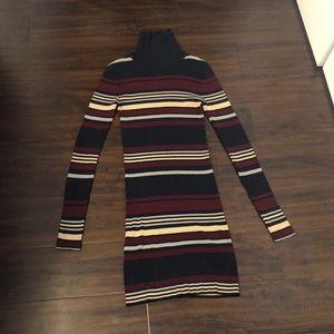 Multi Coloured Stripe Bodycon Turtleneck Dress